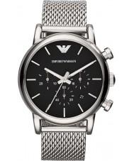 Emporio Armani AR1811 Mens Classic Chronograph Black Silver Mesh Bracelet Watch