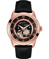 Bulova 97A116 Mens Dress Black Leather Strap Watch
