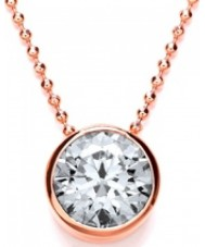 Purity 925 PUR3667-2 Ladies Solitaire Rose Gold Plated Necklace With CZ
