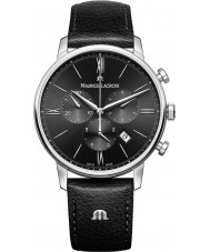 Maurice Lacroix EL1098-SS001-310-1 Mens Eliros Black Leather Strap Chronograph Watch