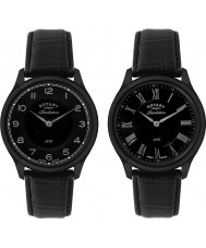 Rotary GS02968-10-19 Mens Revelation Black IP Leather Strap Watch with Reversible Dial
