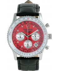 Krug Baümen 400510DS Air Traveller Red Dial Black Strap