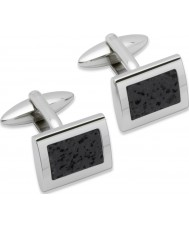 Unique QC-96 Mens Stainless Steel Cufflinks with Lava Rock