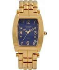 Krug-Baumen 1964DMG Tuxedo Gold 4 Diamond Blue Dial Gold Strap