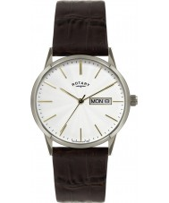 Rotary GS02750-06 Mens Timepieces White and Brown Leather Strap Watch