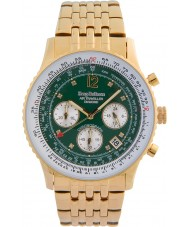 Krug-Baumen 400108DS Air Traveller Green Dial Gold Plated Strap