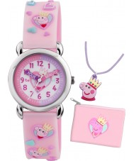 Peppa Pig PP013 Girls Time Teacher Pink Watch with Matching Purse and Necklace