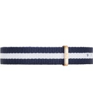 Daniel Wellington DW00200066 Ladies Classy Glasgow 26mm Rose Gold Blue and White Nylon Spare Strap