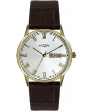 Rotary GS02753-09 Mens Timepieces White and Brown Leather Strap Watch