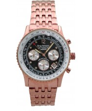 Krug Baümen 400602DS Air Traveller Diamond Black Dial Rose Gold Strap