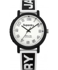 Superdry SYG196BW Mens Campus Black White Silicone Strap Watch