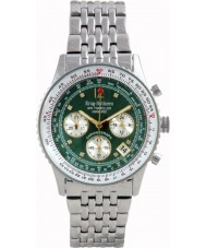 Krug Baümen 400308DS Air Traveller Green Dial Stainless Steel Strap