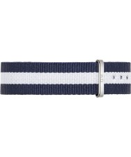 Daniel Wellington DW00200047 Ladies Classic Glasgow 36mm Silver Blue and White Nylon Spare Strap
