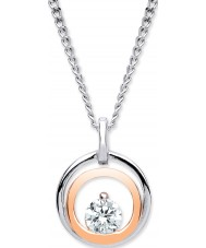 Purity 925 PUR3832P Ladies Two Tone Rose Gold Plated Necklace