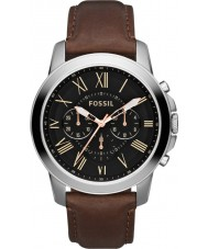 Fossil FS4813 Mens Grant Brown Leather Chronograph Watch
