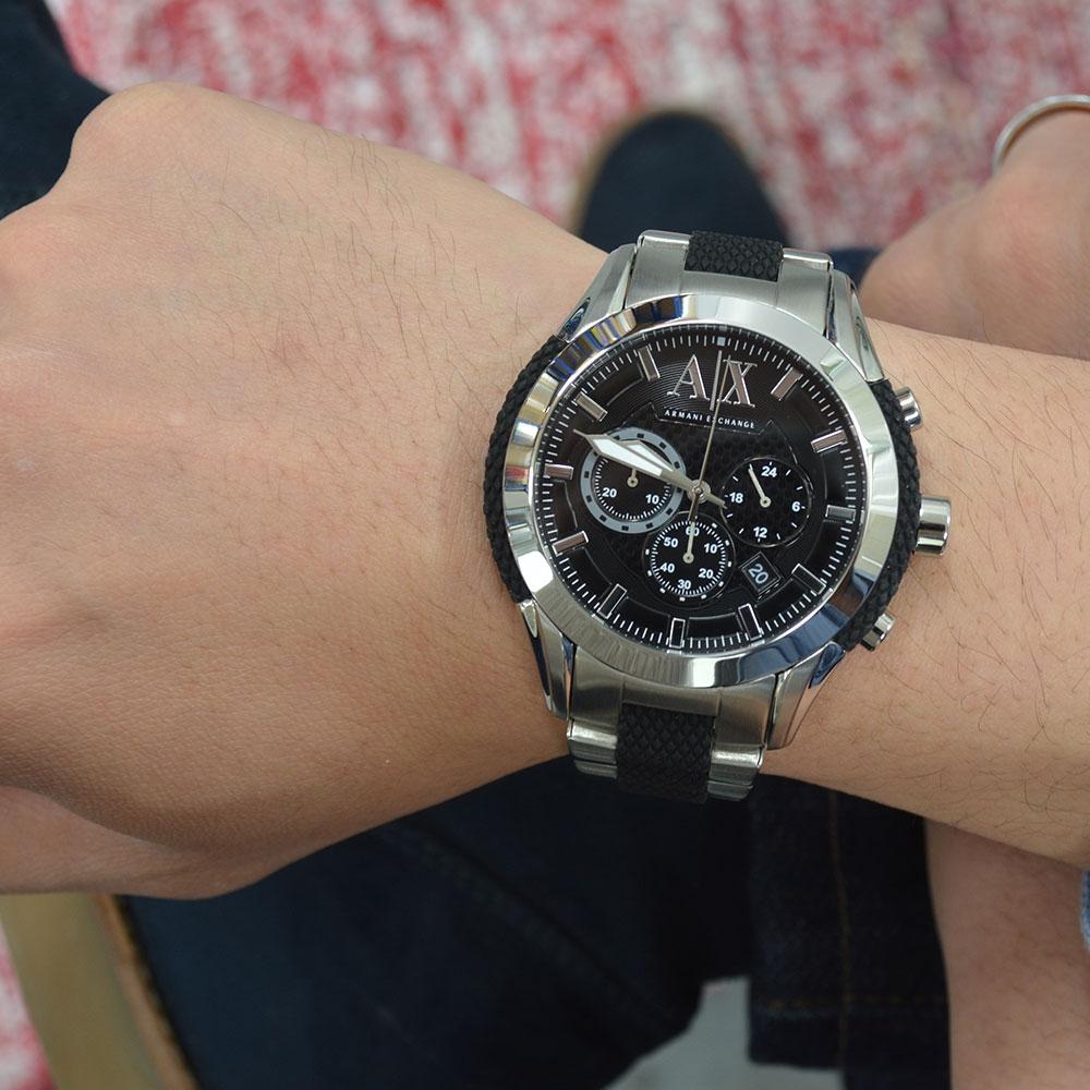 6154abf32 Silver Black Metal AX1214 Armani Exchange Watch | Watches2U