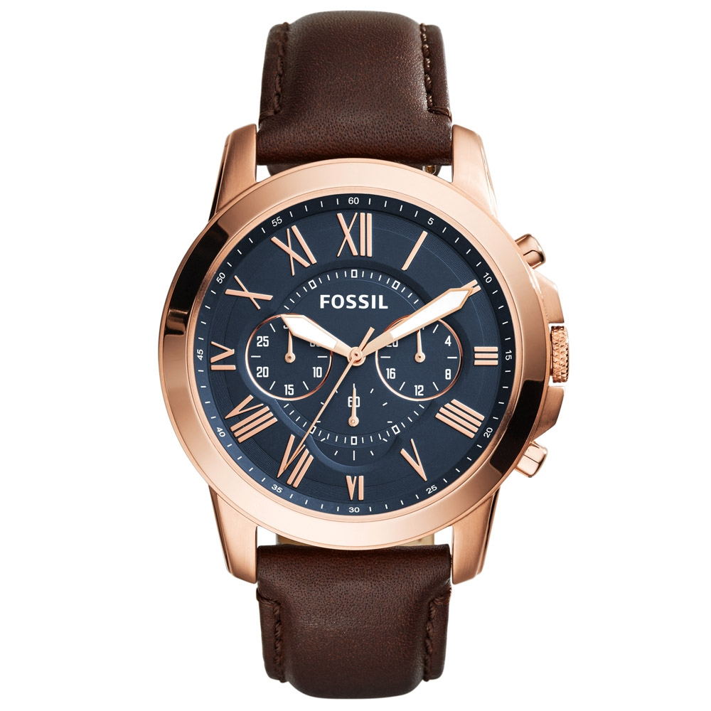 711cc3515 Fossil Mens Grant Brown Leather Chronograph Watch FS5068