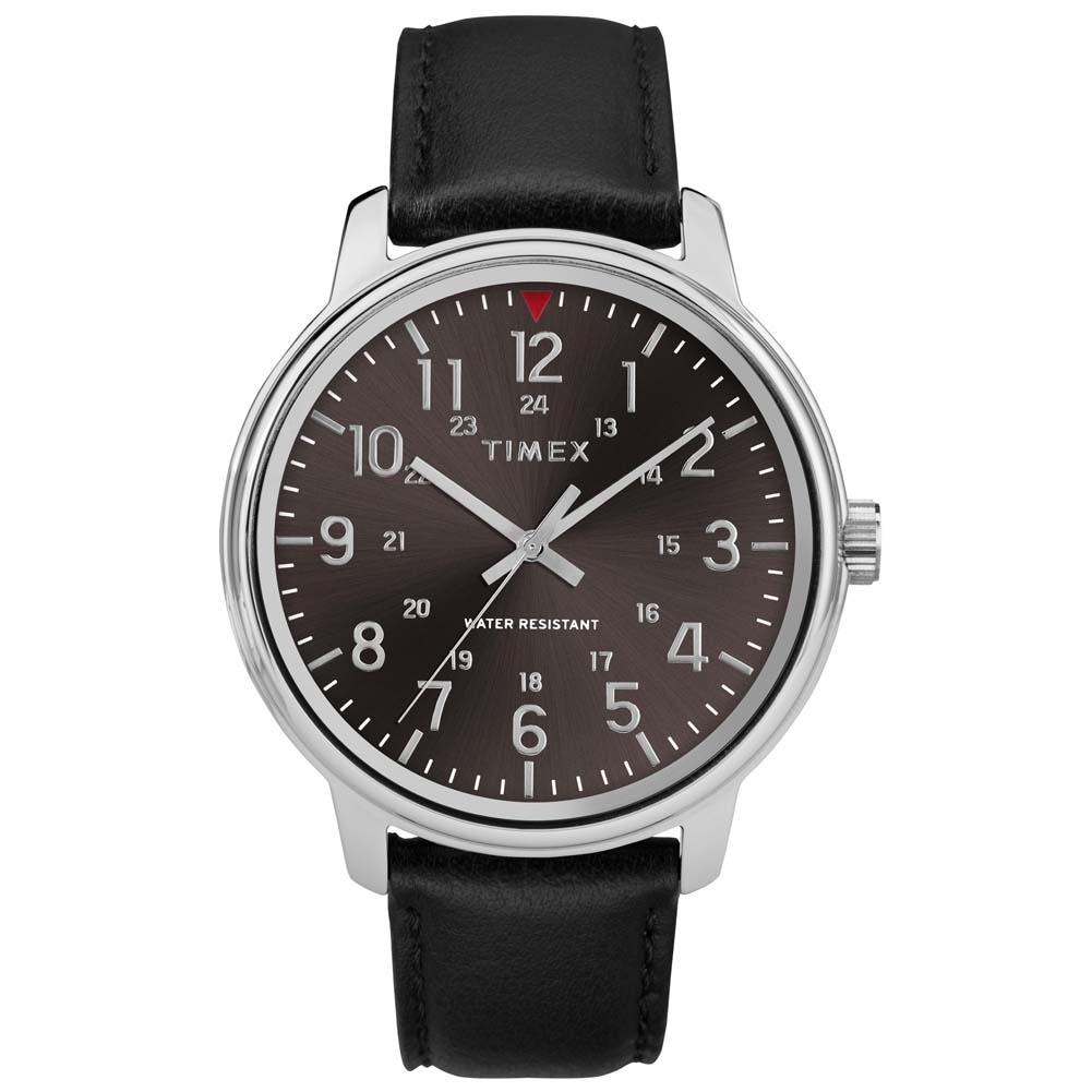 68d5d708c637 Black Leather TW2R85500 Timex Watch