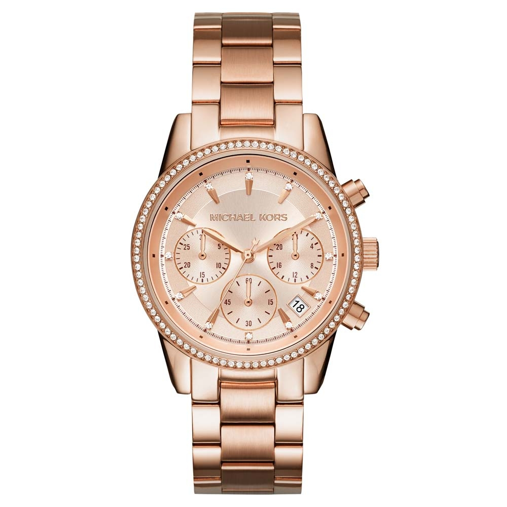 60bcf01f3a0b Michael Kors Ladies Ritz Rose Gold Plated Chronograph Watch MK6357