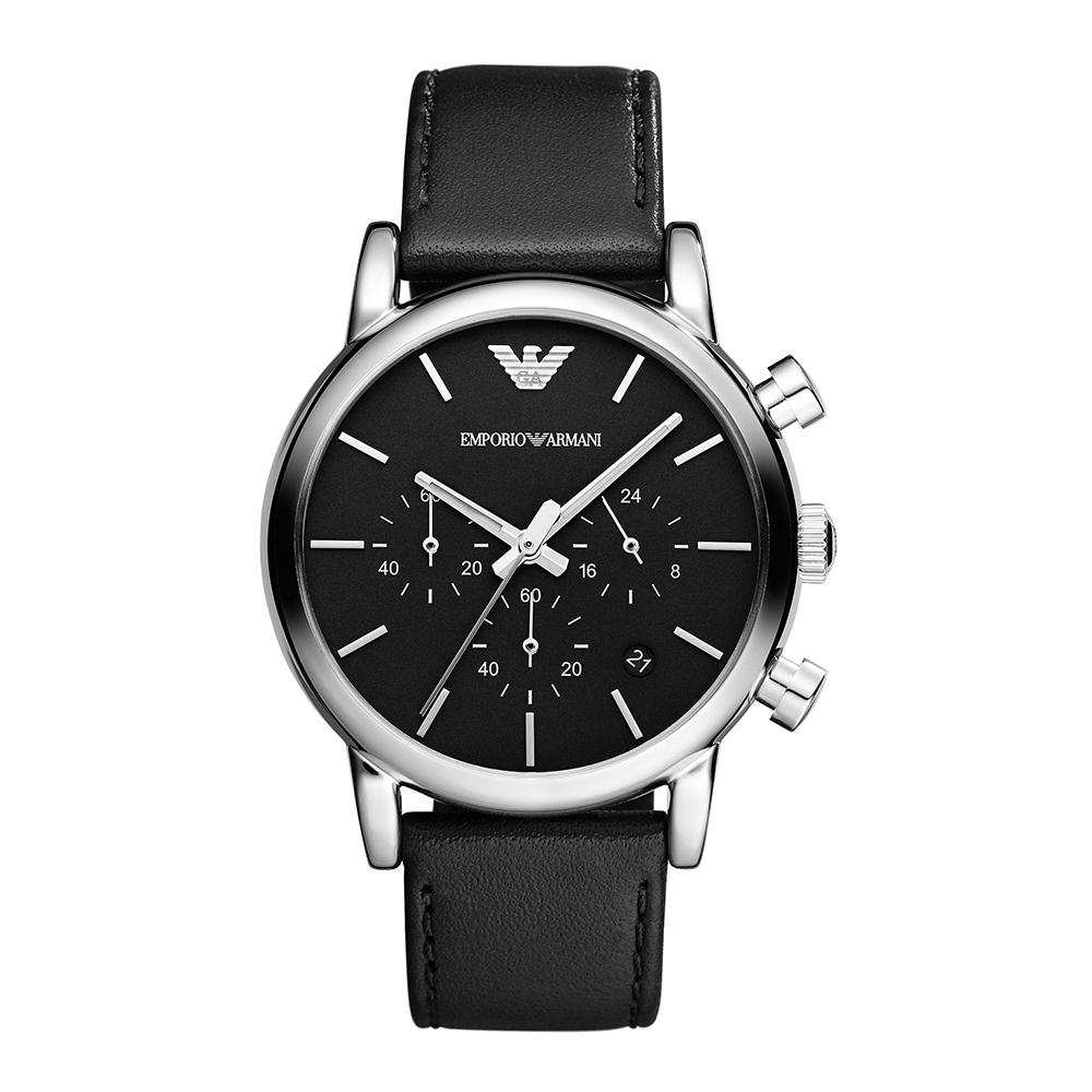 5fa061144636b8 AR1733 - Emporio Armani Mens Classic Chronograph Black Leather Strap ...