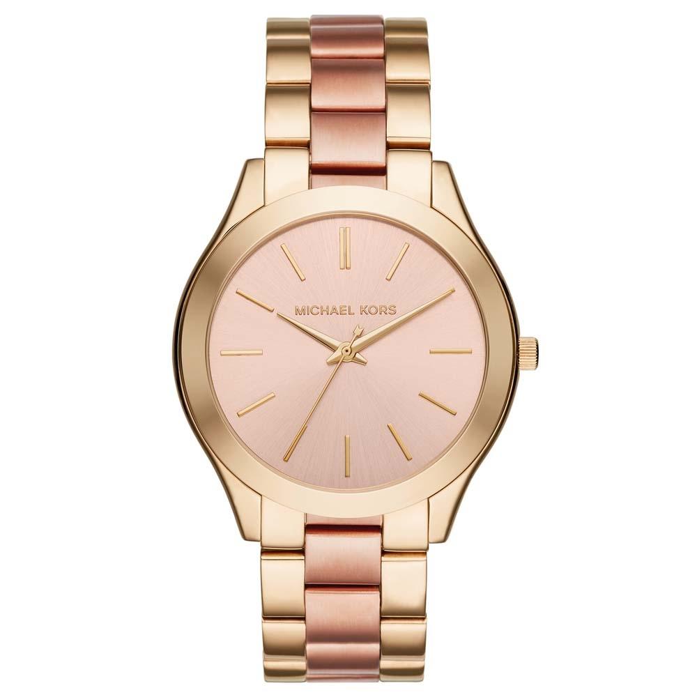 280f5094d595 Michael Kors Ladies Slim Runway Gold and Rose Bracelet Watch MK3493