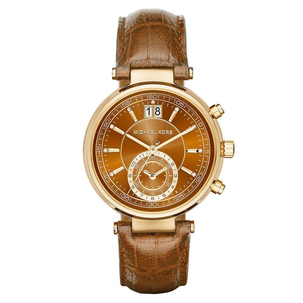 355d06422c2 Michael Kors Ladies Sawyer Chronograph Whiskey Leather Strap Watch MK2424