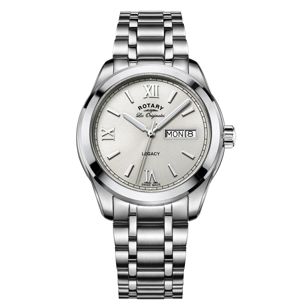 2432c5334214 Rotary Mens Timepieces Legacy Silver Steel Bracelet Watch GB90173-06
