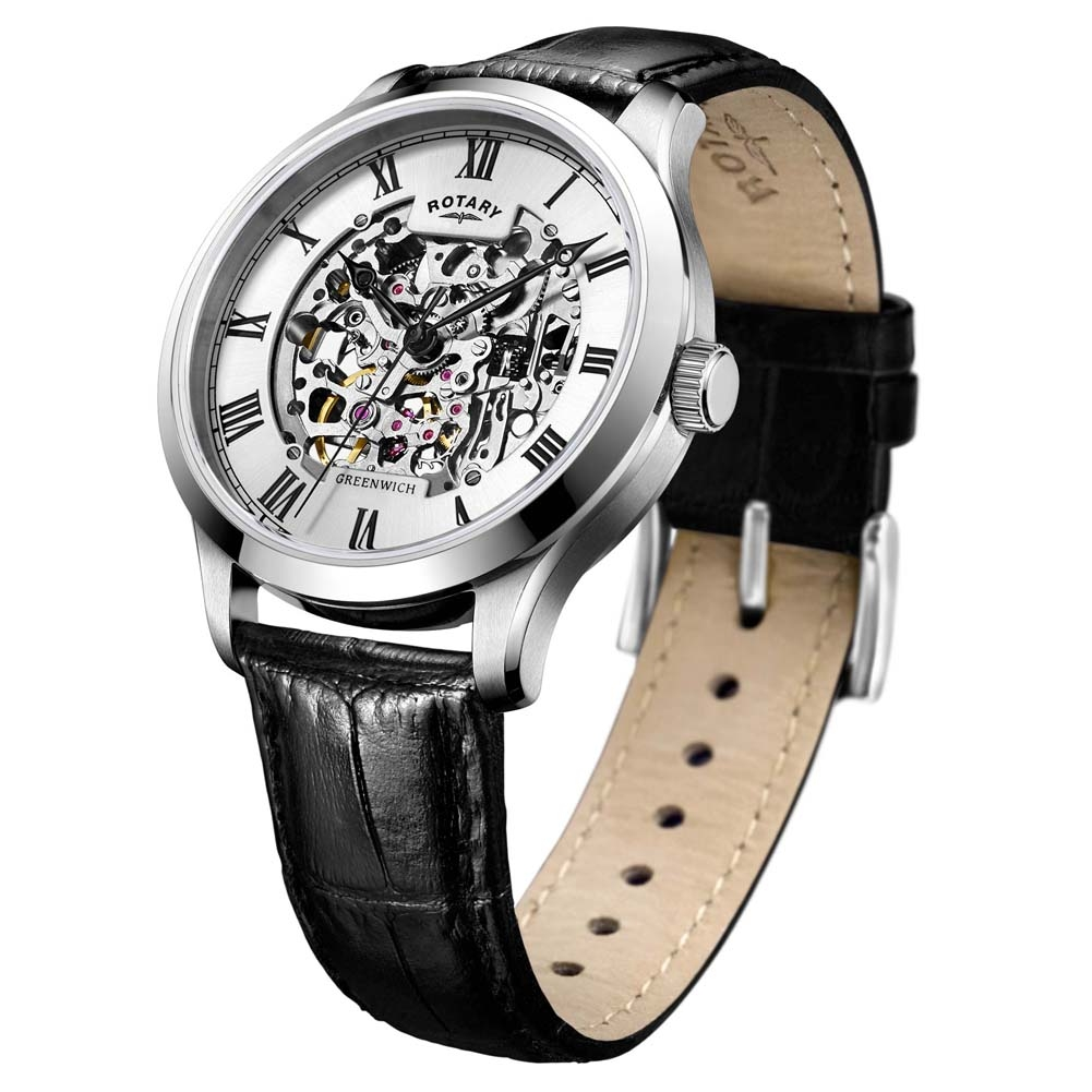 b4dd968ec2b1 GS02940-06 - Rotary Mens Timepieces Silver Brown Skeleton Mechanical Watch
