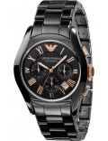 Emporio Armani AR1410 Mens Ceramica Rose Gold Black Watch