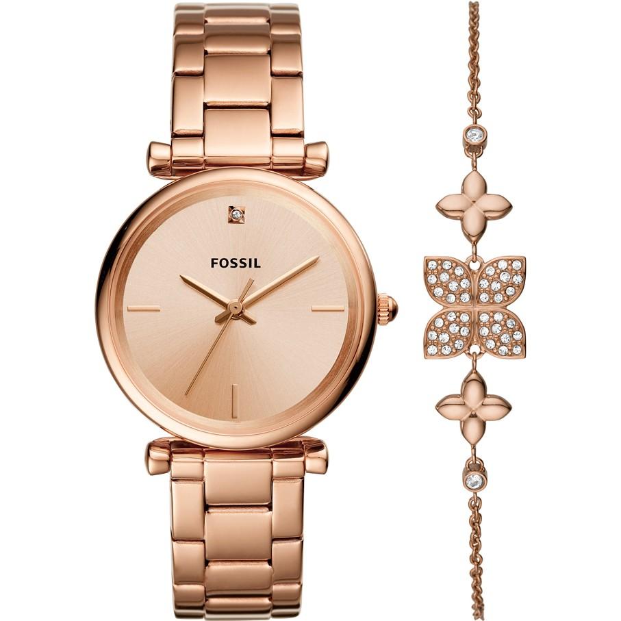 Fossil Ladies Carlie Watch and Bracelet Gift Set ES4685SET