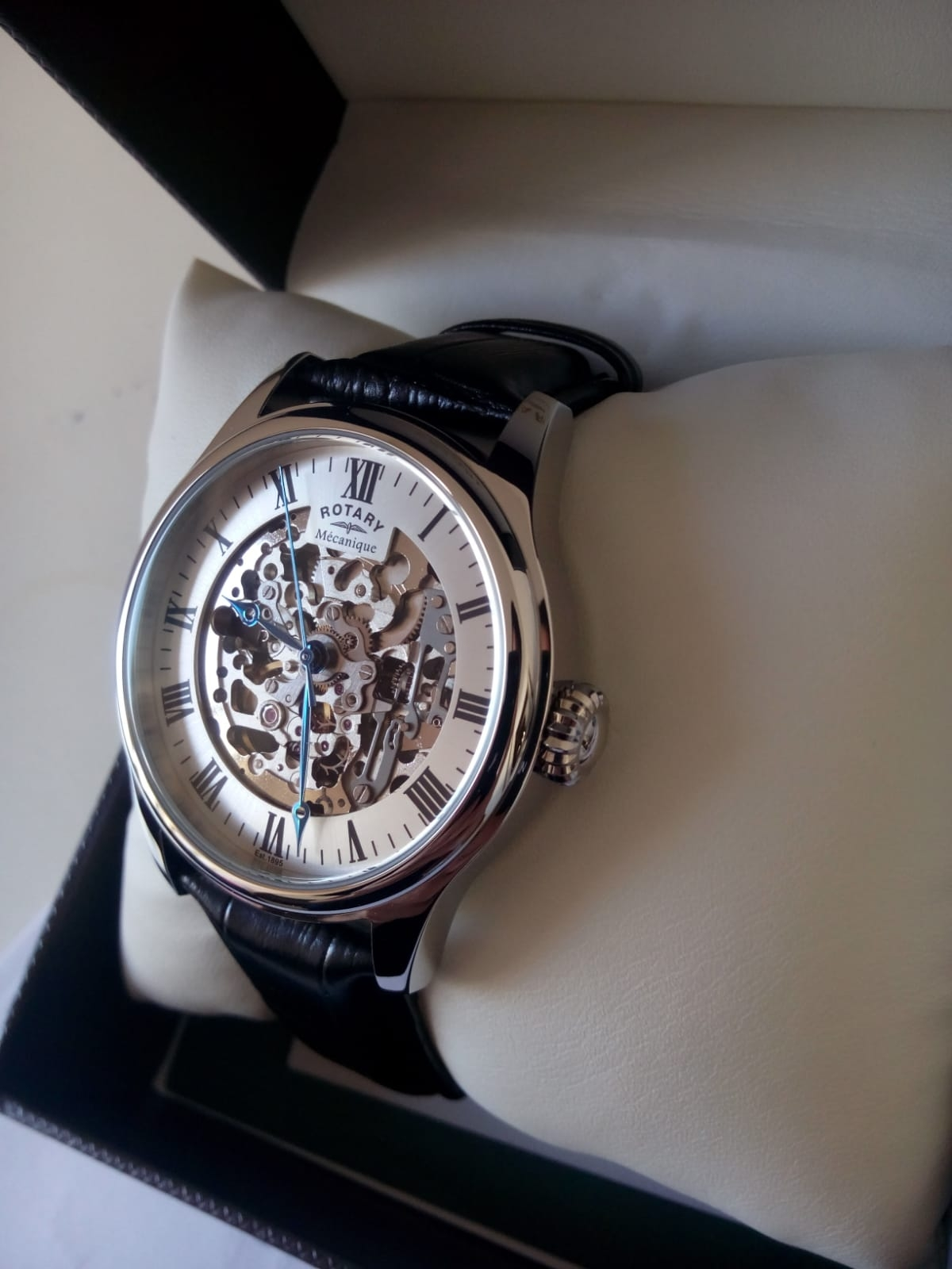 62526aa42fa6 GS02940-06 - Rotary Mens Timepieces Silver Brown Skeleton Mechanical ...