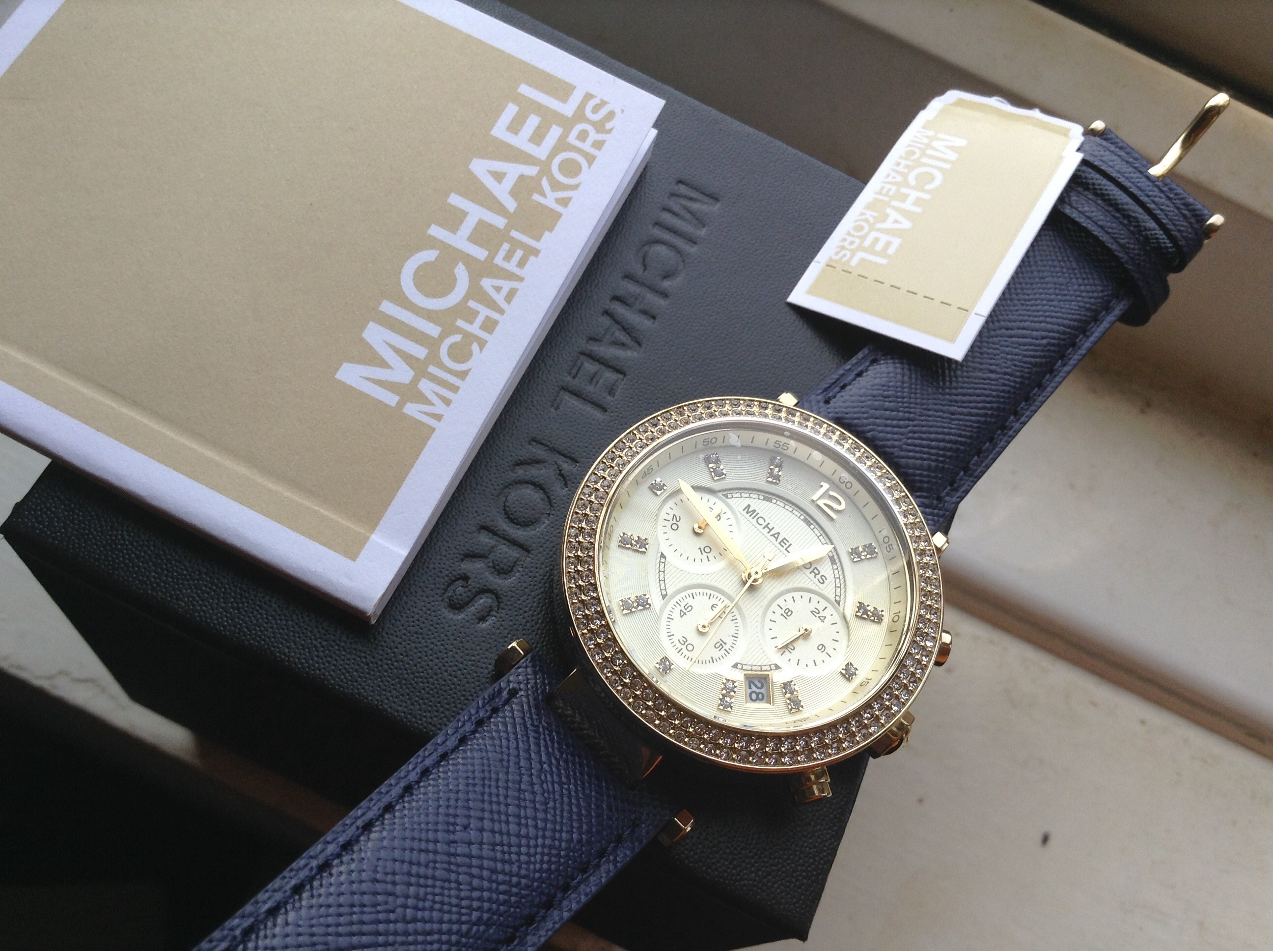 34469e559 MK2280 - Michael Kors Ladies Parker Navy Leather Strap Chronograph Watch