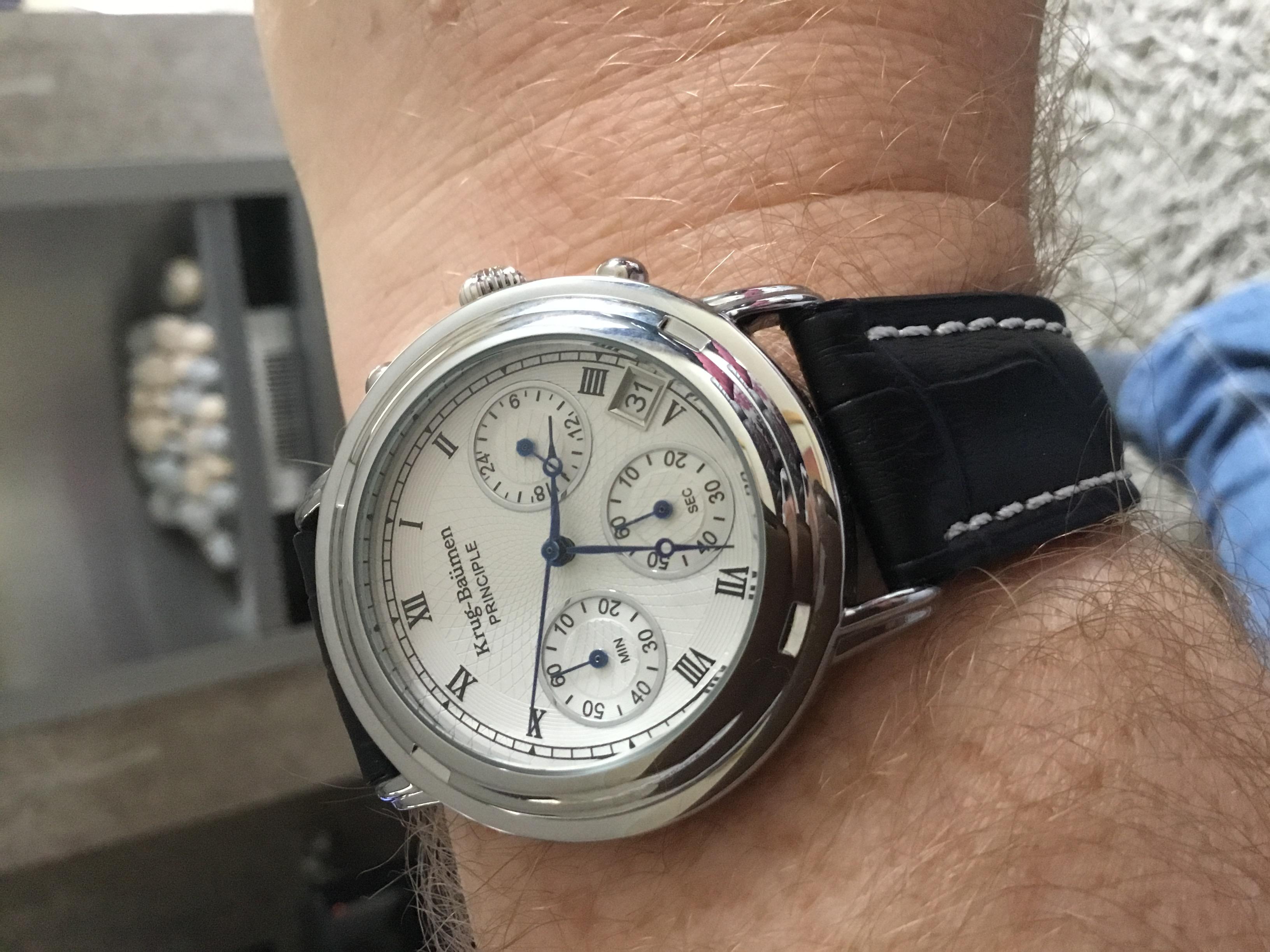 Model Krug-baumen 2011km Krug-baumen Principle Classic Mens Chronograph Watch Armbanduhren Armband- & Taschenuhren