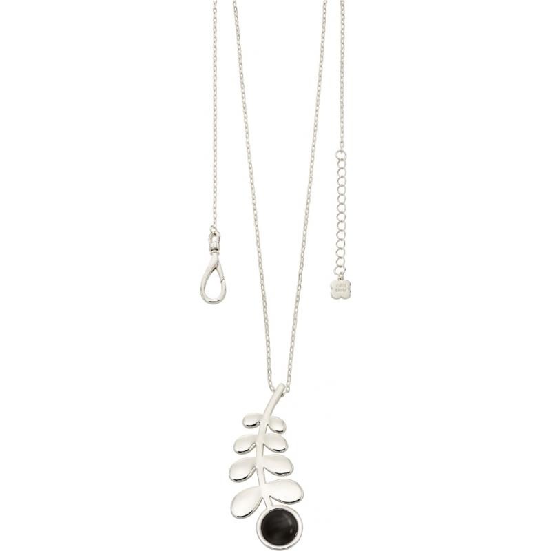 Orla Kiely N4017 Ladies camarada prata longa linha colar de pingente de haste