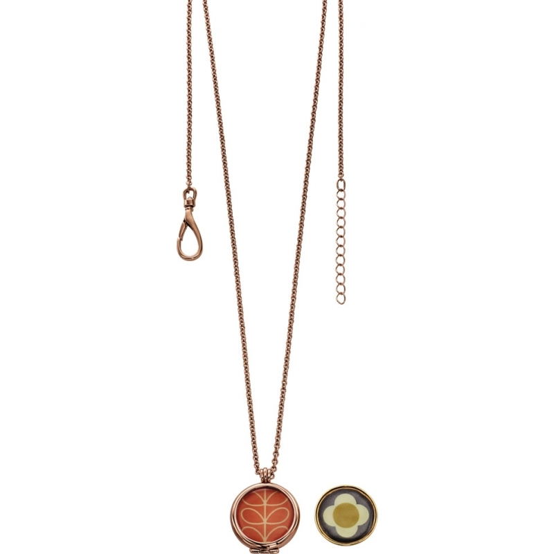 Orla Kiely N4019 Ladies Camille 18ct Rose Gold Reversible Pendant Necklace