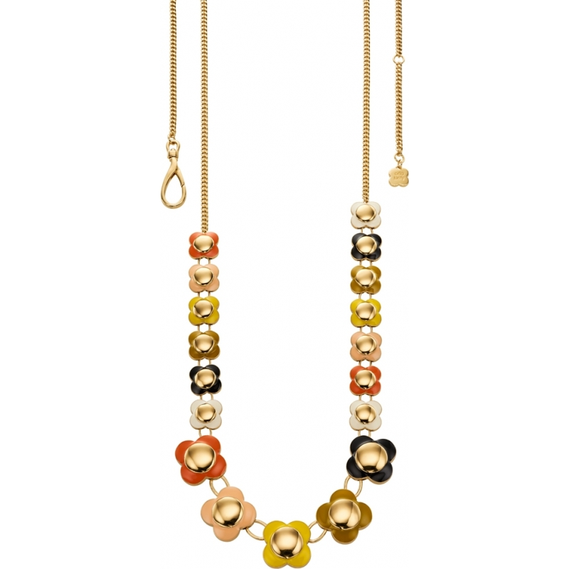 Orla Kiely N4021 Ladies Daisy Chain 18ct Gold Multi Coloured Long Flower Necklace