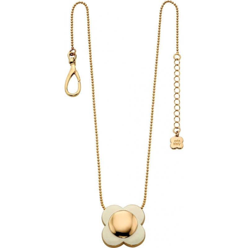 Orla Kiely N4022 Ladies Daisy Chain 18ct Gold Cream Flower Pendant Necklace