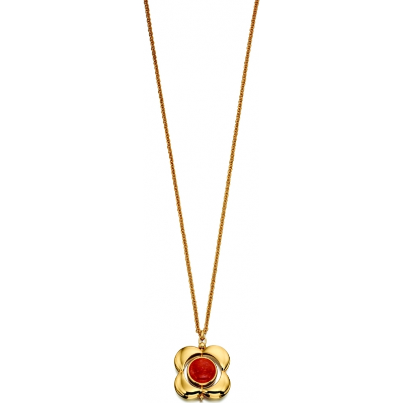 Orla Kiely N4039 Ladies Sterling Silver Gold Plated Necklace with Rotating Flower Pendant
