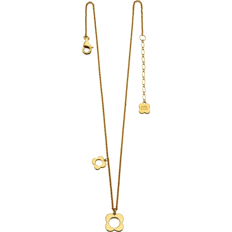 Orla Kiely N4040 Ladies Sterling Silver Gold Plated Four Pointed Flower Necklace
