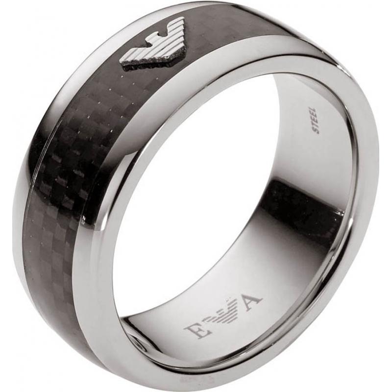 Emporio Armani EGS1602040-512 Homens de fibra de carbono assinatura anel logotipo da águia - o tamanho u