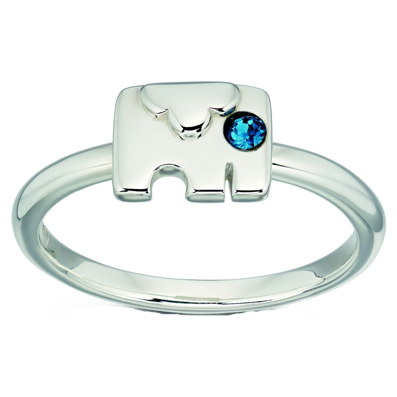 Orla Kiely R3495-52 Ladies Sterling Silver Elephant Ring - Size L