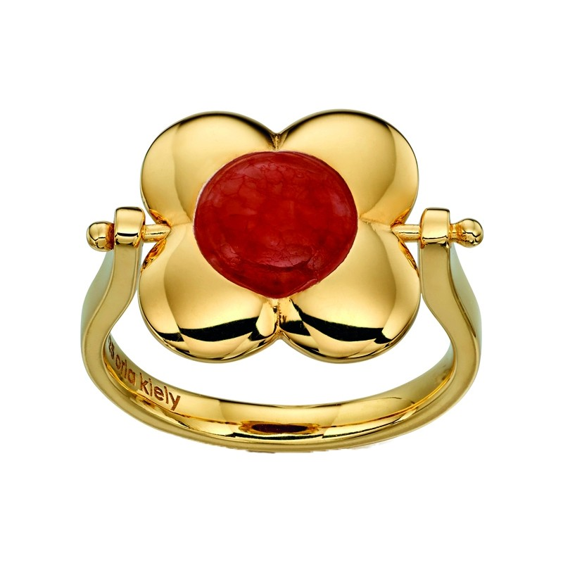 Orla Kiely R3497-52 Ladies Sterling Silver Gold Plated Ring with Rotating Flower - Size L