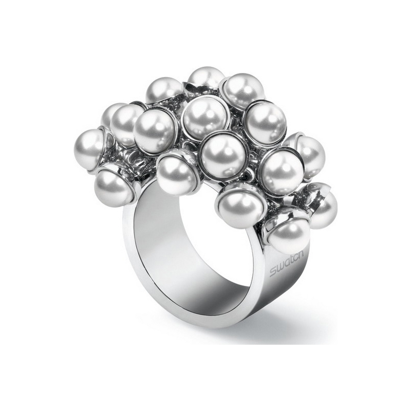 Swatch Jewellery Items JRW014-5 Ladies Love Explosion White Pearls Ring