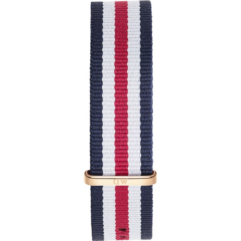 Daniel Wellington DW00200002 Heren Classic 40mm Canterbury rose goud blauw wit en rode nylon reserveonderdelen riem