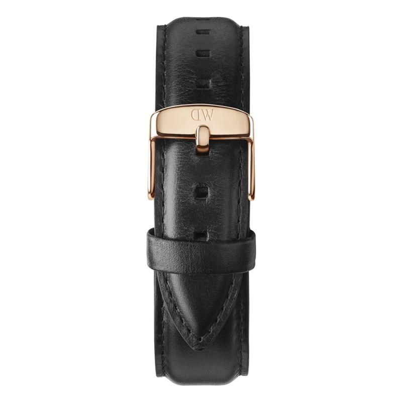 Daniel Wellington DW00200007 Mens classique 40mm sheffield rose bracelet en cuir noir rechange or