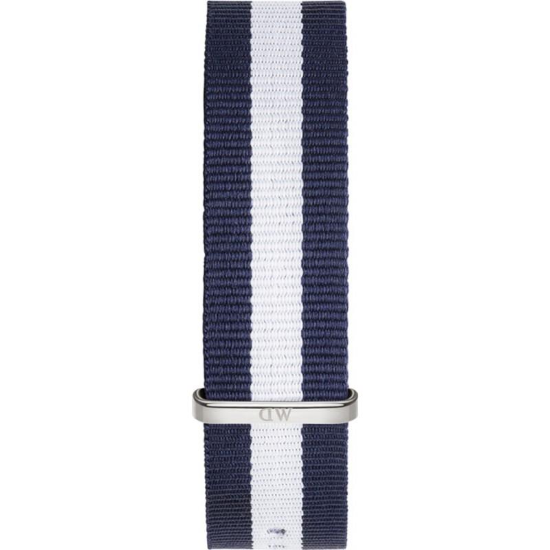 Daniel Wellington DW00200018 Mens classique glasgow 40mm argent nylon bleu et blanc sangle de rechange