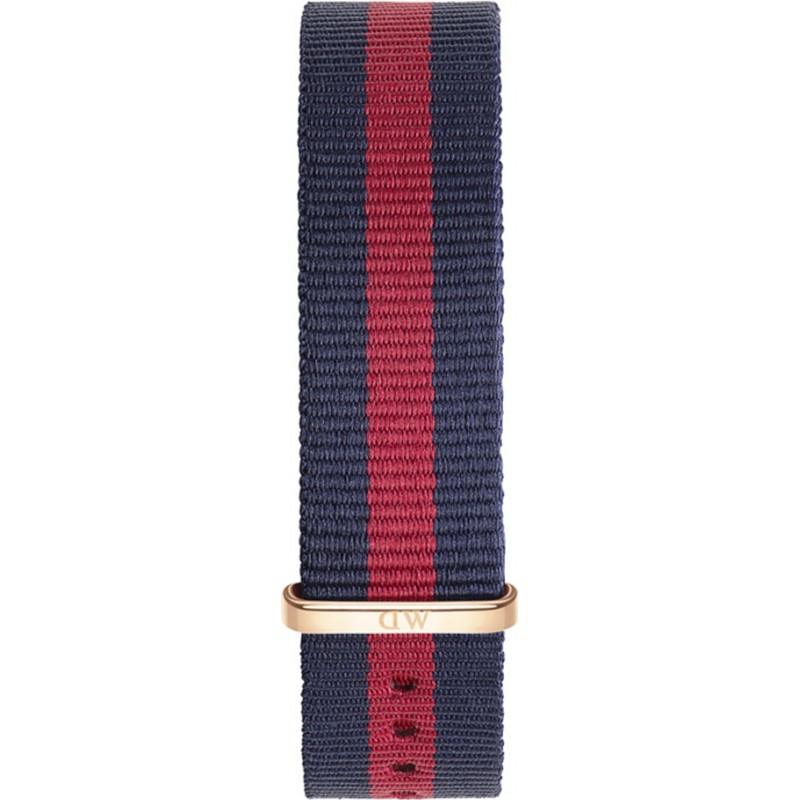 Daniel Wellington DW00200029 Mesdames classique 36mm oxford rose nylon bleu et rouge bracelet de rechange or