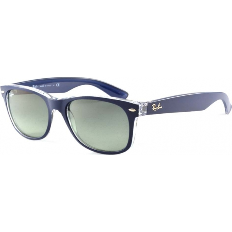 65d137446e54 RayBan RB2132-52-605371 RB2132 52 New Wayfarer Matte Blue On Transparent  605371 Sunglasses