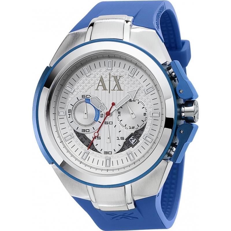 8bb4969b45c0 AX1041 - Armani Exchange Mens Blue Silicone Strap Chronograph Sports ...