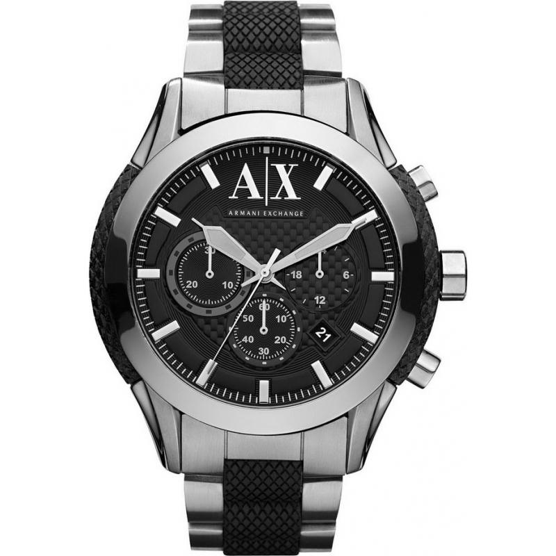 Armani Exchange AX1214 Mens Black Silver Chronograph Sports Watch